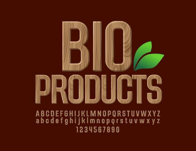 Carattere di prodotti biologici in legno naturale. lettere, numeri e simboli di alfabeto del modello dell'albero di eco