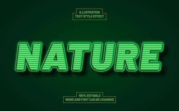 Effetto di stile di testo in grassetto 3d della natura