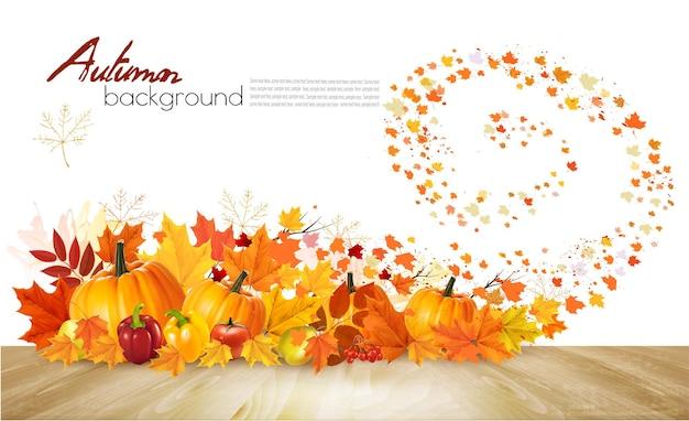 Priorità bassa di autunno della natura. felice biglietto di auguri per il ringraziamento con verdure fresche e foglie colorate. vettore.
