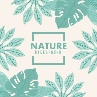 Sfondo di natura, cornice di foglie di natura tropicale di colore pastello