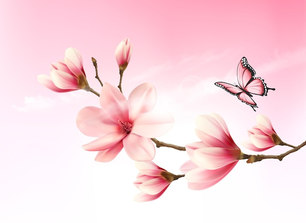Sfondo della natura con ramo di fiori di fiori rosa e farfalla. Vettore Premium