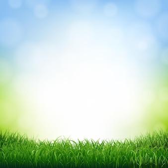 Fondo della natura con l'illustrazione del confine dell'erba