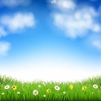 Sfondo della natura con erba e nuvole con illustrazione di maglia gradiente