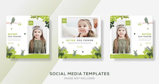 Modello di banner di natura per post sui social media per bambini di moda