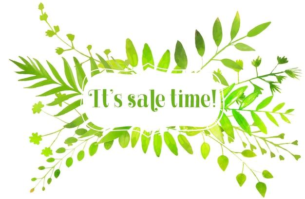 Foglie di verde brillante dell'acquerello dell'insegna della natura e testo il suo tempo di vendita
