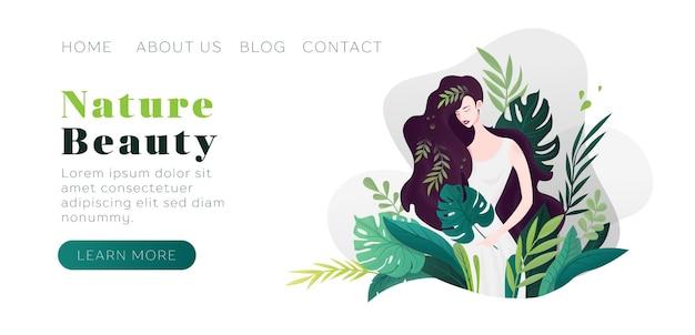Ragazza di bellezza della natura foglie verdi prodotti naturali cosmetici cura del corpo vita sana