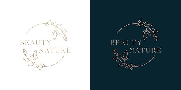 Design del modello di logo di bellezza della natura in stile cerchio