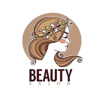 Natura dell'immagine di schizzo di bellezza del viso di ragazza per l'emblema dell'etichetta del logo