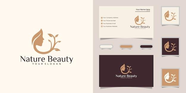 Modello di progettazione di logo di foglia di natura bellezza donna faccia e biglietto da visita