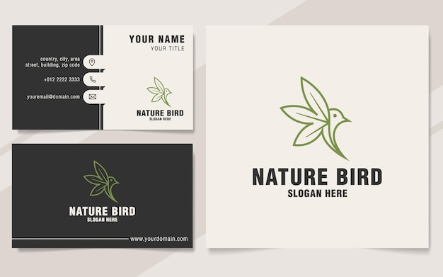 Modello di logo dell'uccello della natura sullo stile del monogramma