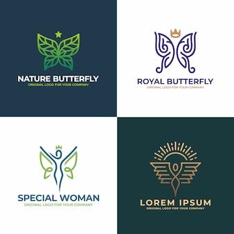 Farfalla natura, donna, viso, salone, collezione di design del logo di bellezza.
