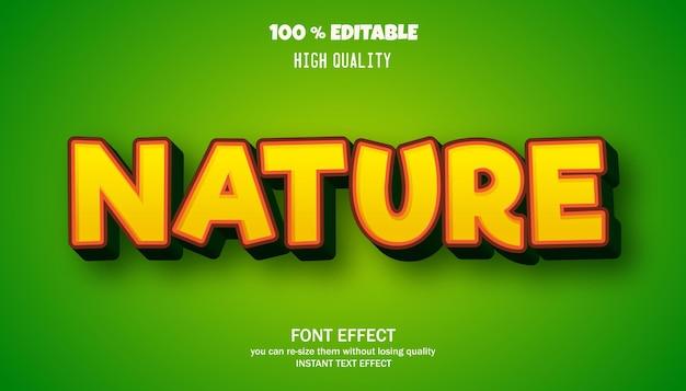 Effetto testo modificabile in stile cartone animato natura