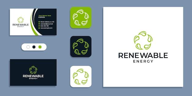 Natura, cerchio di foglie, logo dell'energia rinnovabile e modello di ispirazione per il design del biglietto da visita