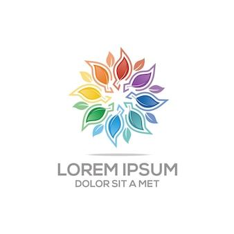 Galleggiante di foglie di colore naturale, modello di logo