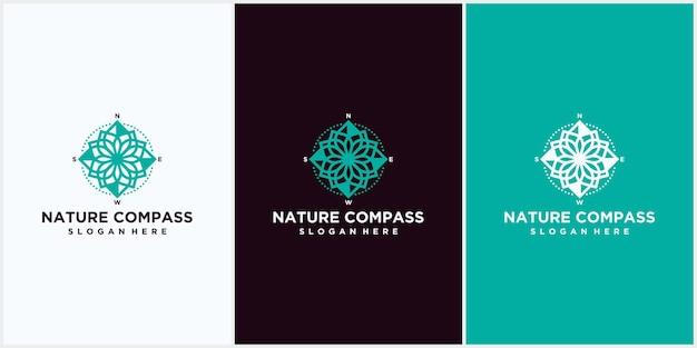 Design del logo della bussola della natura. simbolo dell'icona della bussola con combinazione di foglie naturali, bussola con modello di vettore di progettazione del logo della natura.