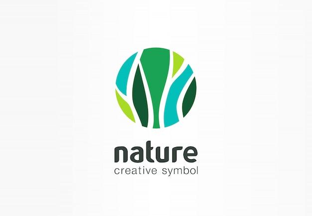 Concetto organico di simbolo creativo della natura. logo di eco di affari di bio erbe sanità astratto. cibo fresco, pacchetto cerchio, flora di bellezza, icona della farmacia.
