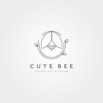 Progettazione dell'illustrazione di simbolo di vettore di logo creativo dell'ape sveglia della natura