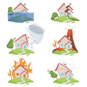 Disastro naturale. scena del fumetto di distruzione del tornado dell'acqua della lava del vulcano dello tsunami del ghiaccio della montagna
