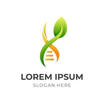 Logo del dna naturale, dna e foglia, logo combinato con stile di colore giallo e verde 3d