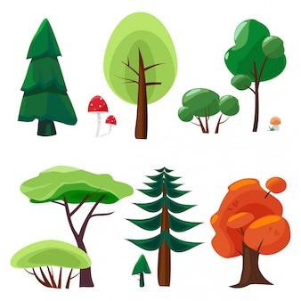 Collezione di elementi della natura. insieme di ui del gioco dei simboli del fumetto della natura del muschio degli alberi delle pietre delle piante isolati