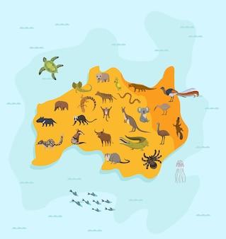 Concetto di cartografia della fauna della natura