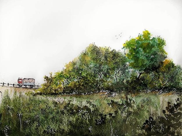 Una natura di pittura di paesaggio dell'acquerello del campo su fondo di carta