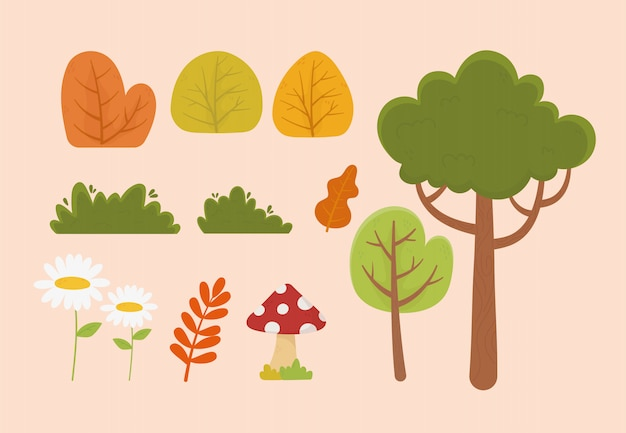 Illustrazione delle icone della vegetazione del cespuglio della foglia del fungo del fiore dell'albero del fogliame della natura