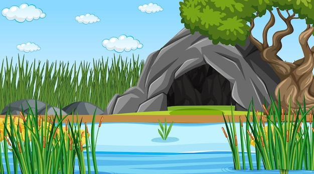 Paesaggio della foresta naturale in scena diurna con grotta in pietra