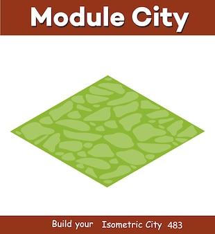 Paesaggio della foresta naturale dell'illustrazione isometrica con erba verde per il design del gioco.