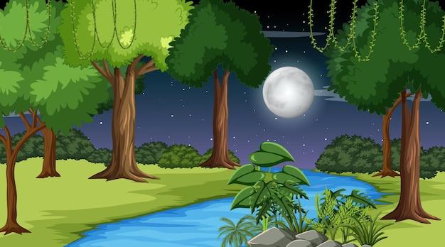 Paesaggio della foresta naturale di notte con un lungo fiume che scorre attraverso il prato