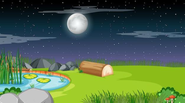 Paesaggio della foresta naturale alla scena notturna