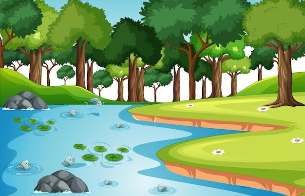 Scena del paesaggio della foresta della natura con molti pesci nel flusso