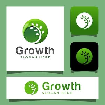 Design del logo in stile spazio negativo della pianta in crescita della natura
