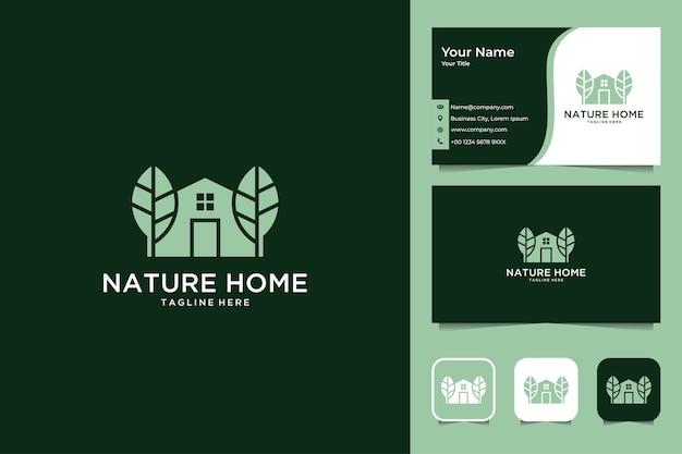 Casa nella natura con design del logo foglia e biglietto da visita