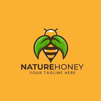 Natura honey bee con foglia illustrazione logo template design, emblema, design concept, simbolo creativo