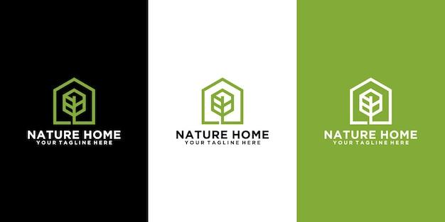 Ispirazione per il logo della casa della natura, casa sull'albero e casa verde