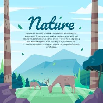 Fondo dell'illustrazione della natura con i cervi che mangiano
