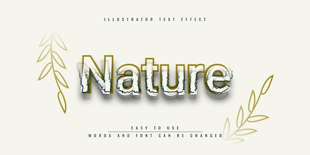 Design del modello di effetto testo modificabile di nature illustrator