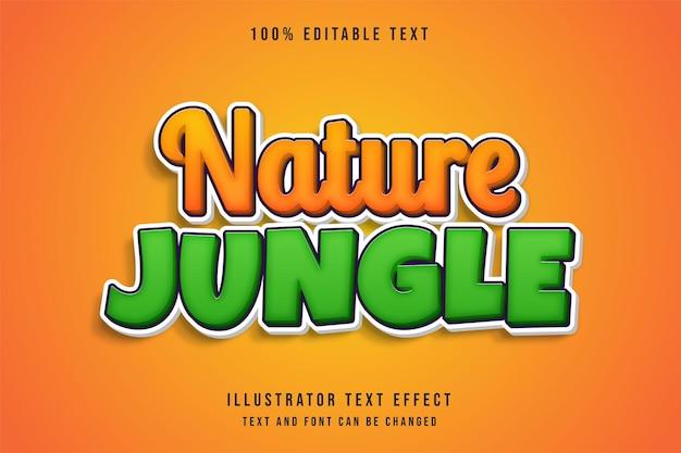 Effetto di testo modificabile nella giungla della natura con gradazione gialla