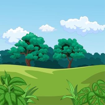 Priorità bassa di paesaggio della natura con erba verde e alberi