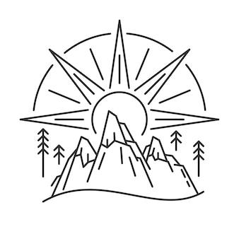 Banner di paesaggio naturale con montagna e sole nascente in stile lineare. poster d'arte itinerante di linea. illustrazione