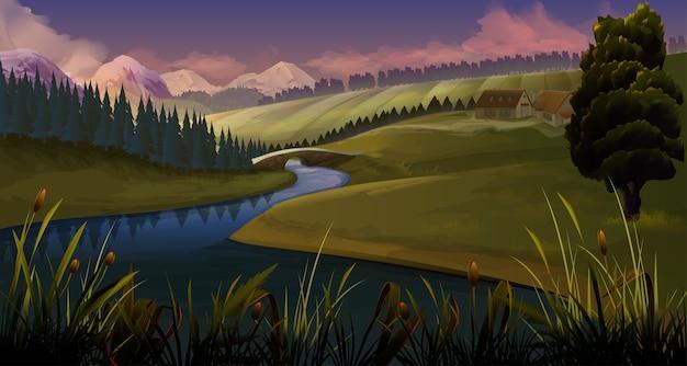 Natura, sfondo di sera del fiume paesaggio