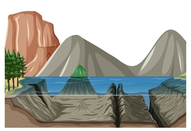 Scena del paesaggio naturale con sott'acqua di lago e montagna