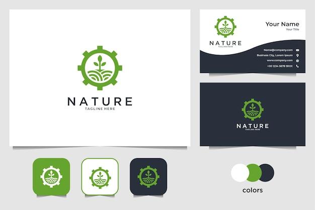 Paesaggio della natura con design del logo dell'ingranaggio e biglietto da visita