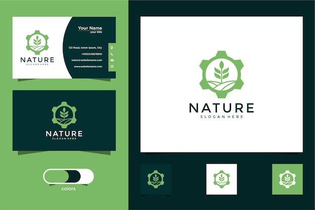Paesaggio della natura con modello di progettazione logo ingranaggio e biglietto da visita
