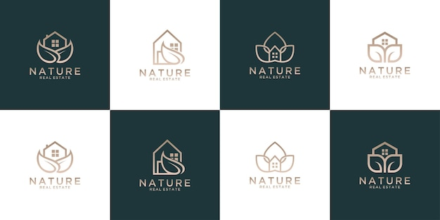 Collezione di design logo casa foglia natura. buon uso per il logo immobiliare e dell'hotel