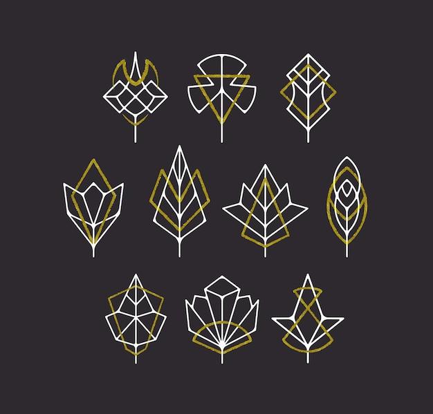Simboli di foglie e alberi della natura, set di logotipi geometrici bianchi e dorati.