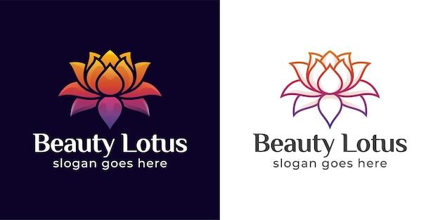 Loghi della natura del simbolo del fiore di loto e spa di bellezza