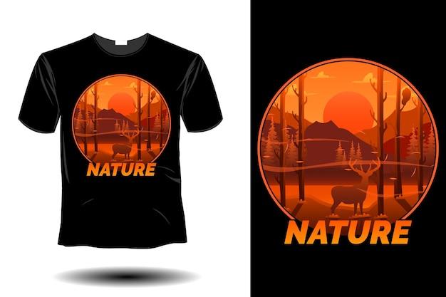 Design vintage retrò di mockup di natura
