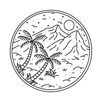Illustrazione grafica di montagna di natura